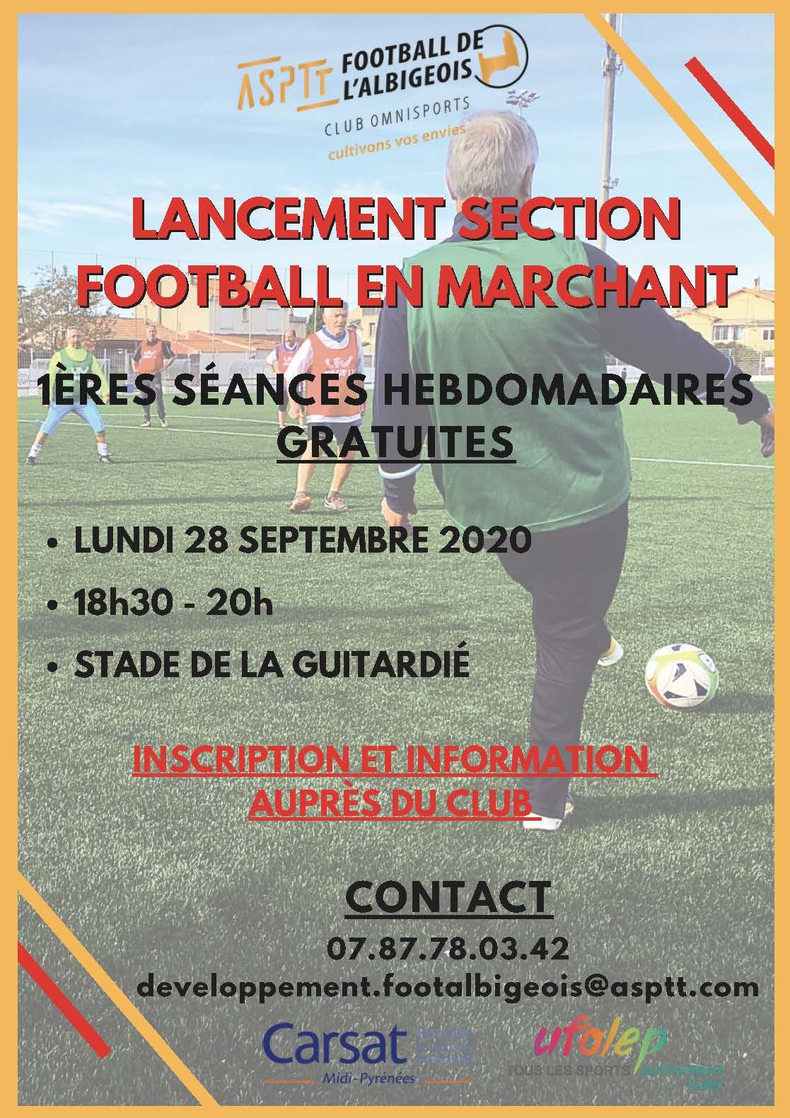 Affiche lancement football en marchant